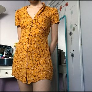 Yellow Floral Button Up Dress